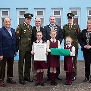 23/10/2015              <br /> Members of the Defence Forces were in Abbeyfeale today to present a handmade Tricolour and a copy of the Proclamation of the Irish Republic to students of the town's two primary schools.<br /> <br /> St Marys Boys National School and Scoil Mháthair Dé are among 3,000 schools nationally and 152 Limerick primary schools to receive the presentation as part of initiatives to mark the centenary of the 1916 Rising.<br /> <br /> Councillor Liam Galvin, Mayor of the City and County of Limerick joined pupils and teachers for today's presentation ceremony, which saw representatives of the Defences Forces raise the flag and read the Proclamation. <br />  Attending the ceremony at Scoil Mháthair Dé were, James Joy, Chairman of the Board Scoil Mháthair Dé, Sergeant James Reddan, Damian Brady, Limerick City and County Co-Ordinator 2016, Mayor of Limerick Cllr. Liam Galvin, Private Ciara Quinn and Anne O'Callaghan, Principal, pupils, Ciara Kenneally, 12, Leah Delacy, 11 and Sarah Louise Collins, 8.  Picture: Alan Place.
