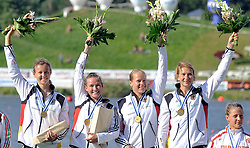 NICOLE REINHARDT & CONNY WASSMUTH & TINA DIETZE & KATRIN WAGNER - AUGUSTIN (ALL GERMANY) CELEBRATE THEIR VICTORY AND GOLD MEDALS IN WOMEN'S K1 RELAY 200 METERS FINAL A RACE DURING 2010 ICF KAYAK SPRINT WORLD CHAMPIONSHIPS ON MALTA LAKE IN POZNAN, POLAND...POLAND , POZNAN , AUGUST 22, 2010..( PHOTO BY ADAM NURKIEWICZ / MEDIASPORT ).