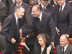 French President Jacques Chirac and former U.S. President George Bush attend the funeral of Pope John-Paul II joining more than two million mourners including royalty and political power brokers on St Peter's Square at Vatican City on Friday April 8, 2005. Photo by Abd Rabbo-Nebinger-Zabulon/ABACA