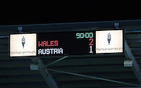 Pictured: Final Sscore on the score board. Wednesday 06 February 2013..Re: Vauxhall International Friendly, Wales v Austria at the Liberty Stadium, Swansea, south Wales.