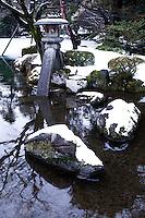 "Kotoji-toro, a stone lantern with two legs is said to resemble the bridge on a koto. This lantern is the symbol of Kenrokuen and even Kanazawa itself.  Kenroku-en or the ""Six Attributes Garden"" (spaciousness, seclusion, artifice, antiquity, watercourses and panoramas)  along with Kairakuen and Korakuen, is one of the Three Great Gardens of Japan."