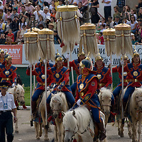 Costumed riders perform at the national Naadam festival in Ulaanbaatar, Mongolia.