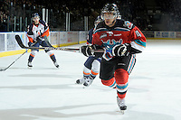 KELOWNA, CANADA, OCTOBER 29: Madison Bowey #4 of the Kelowna Rockets skates on the ice as Kamloops Blazers visit the Kelowna Rockets  on October 29, 2011 at Prospera Place in Kelowna, British Columbia, Canada (Photo by Marissa Baecker/Shoot the Breeze) *** Local Caption *** Madison Bowey;
