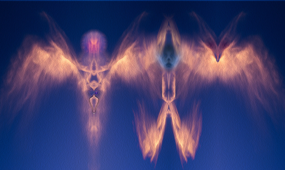 """Cloud Ecumenical Council "", derivative image from a photo of clouls above Sagauro National Park, AZ, USA"