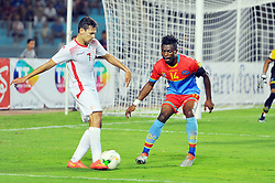 September 1, 2017 - Tunis, Tunisia - Youssef Msakni(7) of Tunisia and Zakuani Gabriel(14) of Congo during the qualifying match for the World Cup Russia 2018 between Tunisia and the Democratic Republic of Congo (RD Congo) at the Rades stadium in Tunis. (Credit Image: © Chokri Mahjoub via ZUMA Wire)