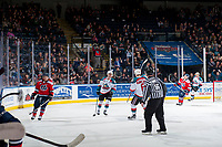 KELOWNA, CANADA - JANUARY 17: Dillon Dube #19 of the Kelowna Rockets stop on the ice to celebrate a first period goal against the Lethbridge Hurricanes on January 17, 2017 at Prospera Place in Kelowna, British Columbia, Canada.  (Photo by Marissa Baecker/Shoot the Breeze)  *** Local Caption ***
