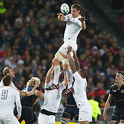 Louis Deacon, England, wins a line out during the England V Scotland Pool B match during the IRB Rugby World Cup tournament. Eden Park, Auckland, New Zealand, 1st October 2011. Photo Tim Clayton...