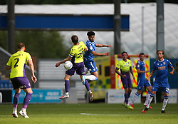 Courtney Senior of Colchester United and Jake Taylor of Exeter City challenge for a header - Mandatory by-line: Arron Gent/JMP - 18/06/2020 - FOOTBALL - JobServe Community Stadium - Colchester, England - Colchester United v Exeter City - Sky Bet League Two Play-off 1st Leg