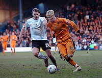 Photo: Kevin Poolman.<br />Luton Town v Wolverhampton Wanderers. Coca Cola Championship. 03/03/2007. Andy Keogh of Wolves gets away from Markus Heikkinen of Luton.