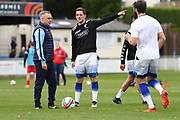 Some Matlock Town players practicing their goal scoring kicks prior to the Northern Premier League match between Matlock FC and Ashton United at the Proctor Cars Stadium on October 10th, 2020 in Matlock, Derbyshire. Local fans welcomed to watch the match maintaining Government's Covid-19 guidelines. (VXP Photo/ Shaun Hardwick)