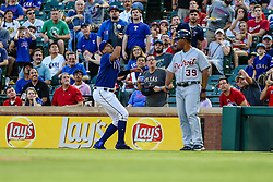 May 8, 2018 - Arlington, TX, U.S. - ARLINGTON, TX - MAY 08: Texas Rangers first baseman Ronald Guzman (67) catches an infield fly during the game between the Texas Rangers and the Detroit Tigers on May 08, 2018 at Globe Life Park in Arlington, Texas. Detroit defeats Texas 7-4. (Photo by Matthew Pearce/Icon Sportswire) (Credit Image: © Matthew Pearce/Icon SMI via ZUMA Press)