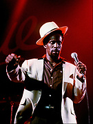 Photograph of Gregory Isaacs in concert 1987