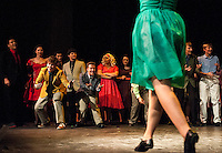 The cast of West Side Story dancing on stage during Wednesday evening's dress rehearsal at Gilford High School.  (Karen Bobotas/for the Laconia Daily Sun)