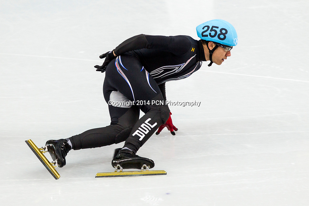 J.R. Celski (USA) competing in the Men's Short Track 1500m semifinals at the  Olympic Winter Games, Sochi 2014
