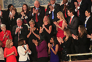 Carryn Owens,widow of Ryan Owens, the Navy Seal slain in Yemen, reacts  during a tribute to Ryan Owens  by President Trump as he  gives a speech to a joint session of Congress on February 28, 2017. Ivanka Trump is next to Carryn Owens.<br /> <br /> Photo by Dennis Brack