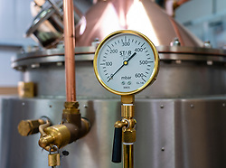 Detail of still at  Dunnet Bay Distillery in Caithness on  the North Coast 500 scenic driving route in northern Scotland, UK