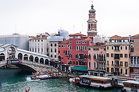 Italy, Venice. The Rialto Bridge over Canal Grande.