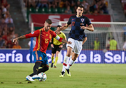 September 11, 2018 - Elche, U.S. - ELCHE, SPAIN - SEPTEMBER 11: Ivan Santini forward of Croatia competes for the ball with Sergio Ramos defender of Spain during the UEFA Nations League A Group four match between Spain and Croatia on September 11, 2018, at Estadio Manuel Martinez Valero in Elche, Spain. (Photo by Carlos Sanchez Martinez/Icon Sportswire) (Credit Image: © Carlos Sanchez Martinez/Icon SMI via ZUMA Press)