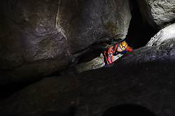 """An expedition member searches for passage within the Miao Room Chamber, China's largest cave chamber by volume, in Ziyun County of southwest China's Guizhou Province, April 14, 2016. In 2014, National Geographic announced Miao Room Chamber, with a volume of some 19.78 million cubic meters, as the world's largest cave chamber. A joint caving expedition code-named """"Pearl"""" by explorers and scientists from China and France kicked off here on April 11 during the 19-day exploration, they will conduct comprehensive investigation on famous caves in Guizhou including the Miao Room Chamber and Shuanghe Cave in Suiyang. EXPA Pictures © 2016, PhotoCredit: EXPA/ Photoshot/ Ou Dongqu<br /> <br /> *****ATTENTION - for AUT, SLO, CRO, SRB, BIH, MAZ, SUI only*****"""