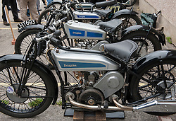 """© Licensed to London News Pictures. 24/05/2015. Warmley, South Gloucestershire UK.  A 1927 Brooklands Douglas motorcycle built especially for the Isle of Man TT races and also at the banked trackside at Brooklands. Annual rally of vintage Douglas Motorcycles at Kingswood Heritage Museum.  The world famous Douglas bikes were built in Kingswood from 1907 to 1957. Some 25000 were constructed for military use in the First World War. The bikes were regular winners of the Isle of Man TT races. Bill Douglas, great grandson of the founders of the firm, said: """"It is always a stirring sight to see the bikes in action, and we expect a big turnout around the area to watch the cavalcade"""". Photo credit : Simon Chapman/LNP"""