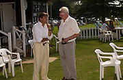Alain de Cadanet and Neville Hay, The Duke of Richmond and Gordon's X1 V The Earl of March and Kinrara's X1. Cricket match before the Goodwood Revival meeting, 2 September 2004. SUPPLIED FOR ONE-TIME USE ONLY-DO NOT ARCHIVE. © Copyright Photograph by Dafydd Jones 66 Stockwell Park Rd. London SW9 0DA Tel 020 7733 0108 www.dafjones.com