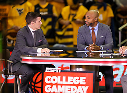 Jan 27, 2018; Morgantown, WV, USA; ESPN's Jay Williams talks on ESPN College Gameday on set before the Big 12/SEC challenge game between West Virginia and Kentucky at WVU Coliseum. Mandatory Credit: Ben Queen-USA TODAY Sports