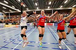 20150425 NED: Eredivisie VC Sneek - Eurosped, Sneek<br />Janieke Popma (2) of VC Sneek, Marrit Jasper (7) of VC Sneek, Nynke Oud (5) of VC Sneek<br />©2015-FotoHoogendoorn.nl / Pim Waslander