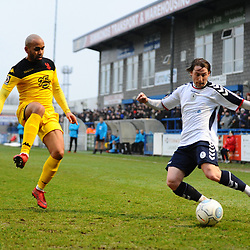 TELFORD COPYRIGHT MIKE SHERIDAN 19/1/2019 - James McQuilkin of AFC Telford crosses under pressure from Ashley Chambers during the Vanarama Conference North fixture between AFC Telford United and Kidderminster Harriers