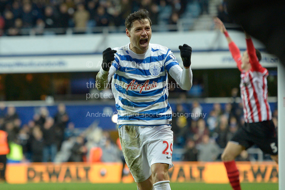 Mauro Zarate of QPR celebrates his late 'goal' before realising that  his goal was disallowed. Barclays Premier league match, Queens Park Rangers v Southampton at Loftus Road in London on Saturday 7th Feb 2015. pic by John Patrick Fletcher, Andrew Orchard sports photography.
