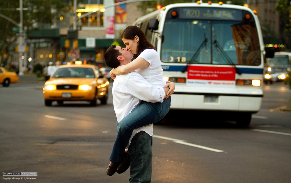 The engagement portrait of Shoshana and Greg, made around Lincoln Center.