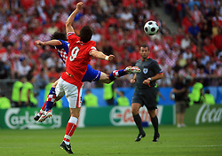 Roland Linz of Austria and Danijel Pranjic of Croatia (L)  during the UEFA EURO 2008 Group B soccer match between Austria and Croatia at Ernst-Happel Stadium, on June 8,2008, in Vienna, Austria.  (Photo by Vid Ponikvar / Sportal Images)