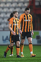 Football - 2020 / 2021 Emirates FA Cup - Round 2 - Stevenage vs Hull City - Lamex Stadium<br /> <br /> Hull City's Tom Eaves and Daniel Batty dejected after their sudden death penalty defeat.<br /> <br /> COLORSPORT/ASHLEY WESTERN