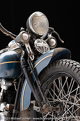 Matt and Carl Olsen's, of Carl's Cycle Supply, 1938 Knucklehead patina bobber.  Photographed by Michael Lichter in Sturgis, SD. August 3, 2021. ©2021 Michael Lichter