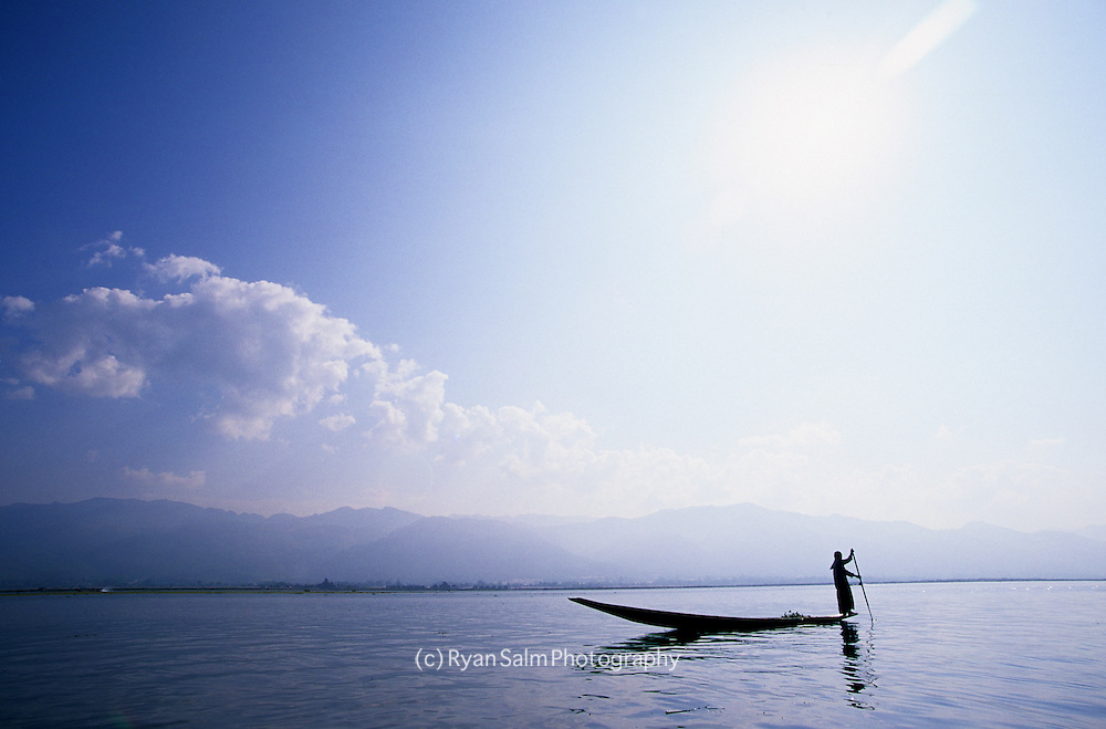 Boatsman on Inle Lake