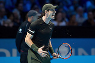 Andy Murray of Great Britain  on his way to winning match  (6-7) (6-4) (6-4) against Kei Nishikori of Japan during day four of the Barclays ATP World Tour Finals at the O2 Arena, London, United Kingdom on 16 November 2016. Photo by Martin Cole.
