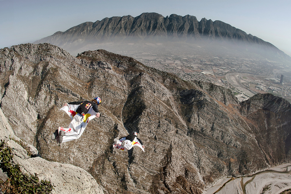 Jon DeVore and Mike Swason jumping from Pico Independencia in Monterrey, Mexico. Client: Red Bull