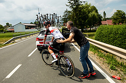 Crash of Tadej POGACAR of UAE TEAM EMIRATES during 1st Stage of 27th Tour of Slovenia 2021 cycling race between Ptuj and Rogaska Slatina (151,5 km), on June 9, 2021 in Slovenia. Photo by Vid Ponikvar / Sportida
