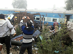 November 20, 2016 - Allahabad, Uttar Pradesh, India - Rescue workers on work after Indore-RajendraNager Express derailed at Pokhraya station near Kanpur. (Credit Image: © Prabhat Kumar Verma/Pacific Press via ZUMA Wire)