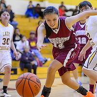 021215       Cable Hoover<br /> <br /> Rehoboth Lynx Shannon Begay (14) chases down a loose ball Thursday at Tohatchi High School.
