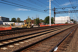 View East-Northeast. Bigelow Tea Headquarters in the distance. Construction Progress Photography of the Railroad Station at Fairfield Metro Center - Site visit 2 of once per month Chronological Documentation.