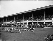 03/08/1960<br /> 08/03/1960<br /> 03 August 1960<br /> R.D.S Horse Show Dublin (Wednesday). Members of the East Down Hunt, which led the Grand Parade of Prize-winning horses and ponies at the Dublin Horse Show.