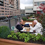 Nederland Rotterdam 18 juli 2008 20080718 Foto: David Rozing .Rotterdam Groenjaar, groene daken. Ouderen spelen schaakspel op het groene dak van de Centrale Bibliotheek .GROENE DAKEN.Met groene daken wil Rotterdam de belasting op het rioolstelstel minderen en de luchtkwaliteit verbeteren..Al sinds begin vorige eeuw worden groene daken sporadisch ingezet. In noordelijke landen als isolatie tegen de kou en in zuidelijke landen tegen de hitte. Ook Rotterdam ziet nu de voordelen in van het plaatsen van de vochtvretende sedumplantjes op platte daken. Zelf geeft de gemeente het goede voorbeeld door gemeentelijke gebouwen te voorzien van een groen dak.Om de aanleg van groene daken te stimuleren geeft de gemeente Rotterdammer subsidie op de aanleg ervan.Kijk voor meer informatie op www.rotterdam.nl/groenedaken..Het werkt als volgt: de sedumplantjes nemen tijdens een regenbui het water op en brengen dit via verdamping terug in de lucht. Hierdoor komt er minder regenwater in het riool terecht en dit verkleint weer de kans op wateroverlast. Een voordeel van groene daken is dat het geen extra ruimte inneemt. Het is een goedkope oplossing en is effectief als het grootschalig wordt opgepakt..In het groenjaar 2008 worden de eerste daken in Rotterdam aangelegd. Zoals op het gemeentearchief, of op de Centrale Bibliotheek.Met de opening van het groene dak op de Centrale Bibliotheek lanceerde wethouder Bolsius 16 juli 2008de subsidieregeling voor aanleg van groene daken. Met deze subsidieregeling stimuleert Rotterdam bedrijven en particulieren om groene daken aan te leggen. De subsidie bedraagt voor particulieren EUR 25 per vierkante meter groen dak: ongeveer de helft van de extra kosten voor de aanleg van een eenvoudig groen dak. Voor sociale verhuurders en bedrijven bedraagt de subsidie 50 procent van de kosten tot een maximum van EUR 25 per vierkante meter. De gemeente wil Rotterdammers stimuleren om groene daken aan te leggen en gaat zelf ook een aantal gemeentelijke gebouwen