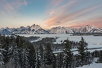 I've photographed the sunrise here from the Snake River Overlook once before in September. But I think the Tetons are even more beautiful in the winter covered with snow. This was the view just before the sun crested the horizon.