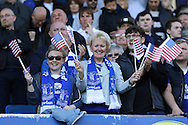 Everton fans wave there USA flags for Everton Goalkeeper Tim Howard's last game at Goodison. Barclays Premier League match, Everton v Norwich City at Goodison Park in Liverpool on Sunday 15th May 2016.<br /> pic by Chris Stading, Andrew Orchard sports photography.