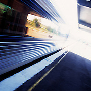 XPT Train leaving country station, NSW, Australia