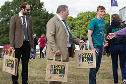 © Licensed to London News Pictures. 31/07/2015. Leeds , UK . UKIP MEP DAVID COBURN hands out Say No to Europe bags at the CLA GameFair ( Country Landowners Association ) at Harewood House in Yorkshire . Photo credit: Joel Goodman/LNP