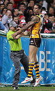 Lance Franklin of the Hawks celebrates after kicking a goal during the AFL Round 22 match between the Sydney Swans and the Hawthorn Hawks at the SCG, Sydney. (Photo: Craig Golding/AFL Media)