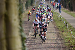 Julie Soek (Sunweb) sets the pace across the cobbles as the race heads back toward the VAMberg at Ronde van Drenthe 2017. A 152 km road race on March 11th 2017, starting and finishing in Hoogeveen, Netherlands. (Photo by Sean Robinson/Velofocus)
