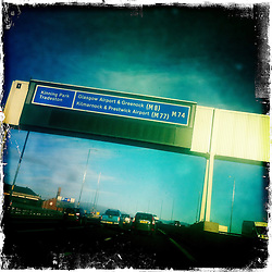 M8 motorway..Hipstamatic images taken on an Apple iPhone..©Michael Schofield.