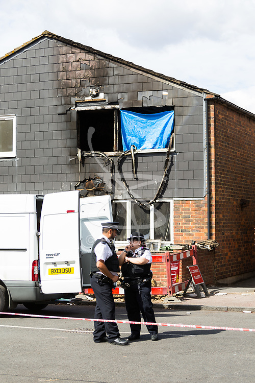 XXXX where seven-year-old Joel Urhie died in a suspected arson attack on his home in Deptford in the early hours of Tuesday 7th August. London, August 08 2018.